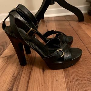 LAUREN by RL strappy black leather sandals, size 8
